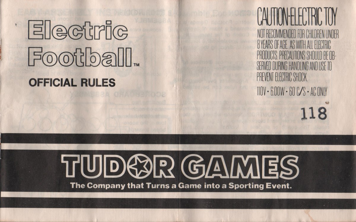 1978 Tudor Electric Football Cover