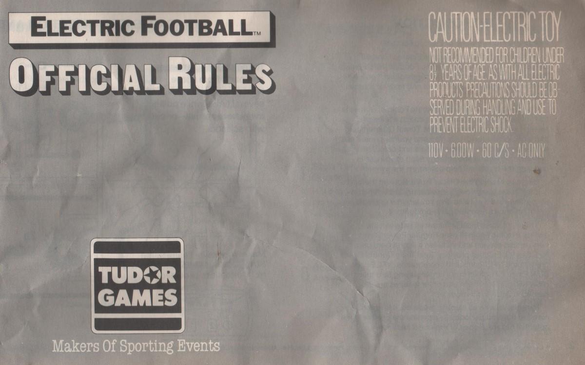 1985 Tudor Electric Football Cover