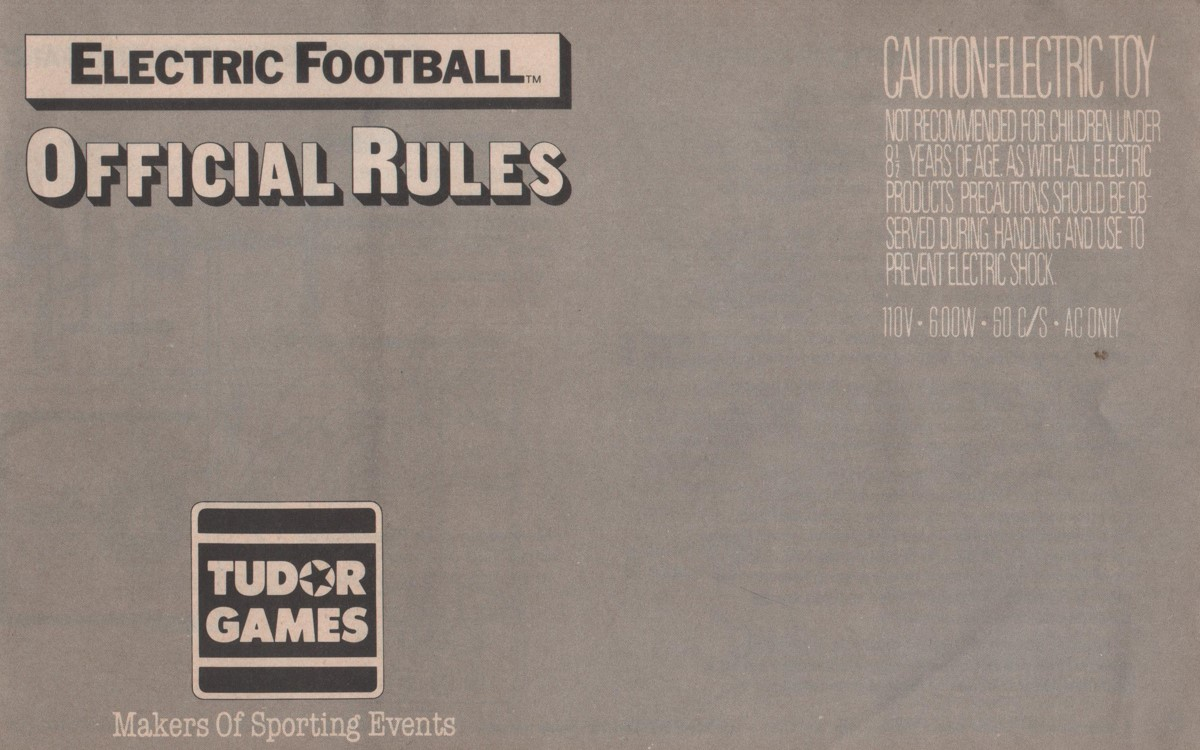 1986 Tudor Electric Football Cover