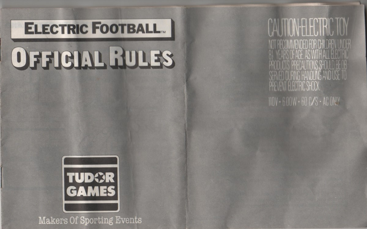 1988 Tudor Electric Football Cover